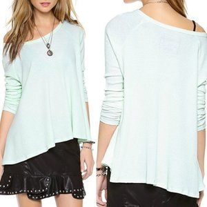 Free People Mint Green Wafflle Knit Swing Thermal
